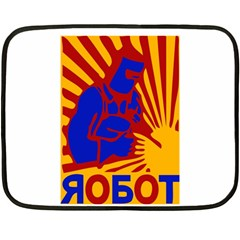 Soviet Robot Worker  Mini Fleece Blanket (two Sided)