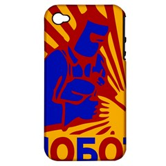 Soviet Robot Worker  Apple Iphone 4/4s Hardshell Case (pc+silicone)