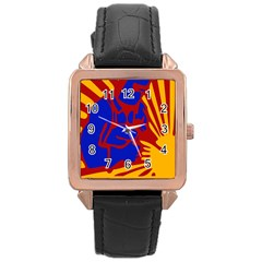Soviet Robot Worker  Rose Gold Leather Watch