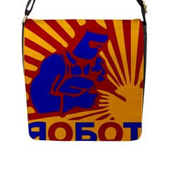 Soviet Robot Worker  Flap Closure Messenger Bag (Large)