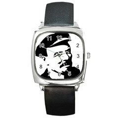 Lenin Portret Square Leather Watch