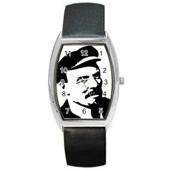 Lenin Portret Tonneau Leather Watch