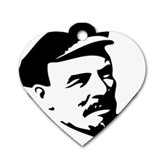 Lenin Portret Dog Tag Heart (Two Sided)