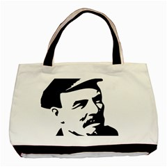 Lenin Portret Twin Sided Black Tote Bag