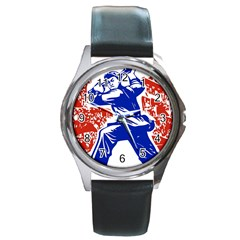 Communist Party Of China Round Metal Watch (Silver Rim)