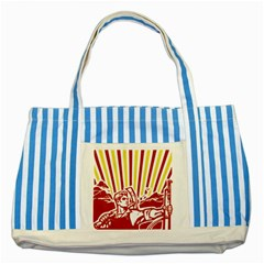 Octobe revolution Blue Striped Tote Bag