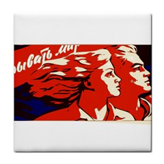 Communist Propaganda He And She  Ceramic Tile