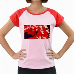 Communist Propaganda He And She  Women s Cap Sleeve T-Shirt (Colored)
