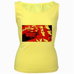 Communist Propaganda He And She  Womens  Tank Top (Yellow)