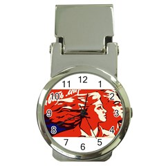 Communist Propaganda He And She  Money Clip With Watch