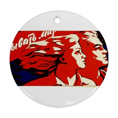 Communist Propaganda He And She  Round Ornament (Two Sides)