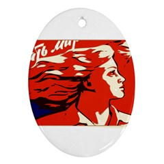 Communist Propaganda He And She  Oval Ornament (Two Sides)