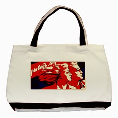 Communist Propaganda He And She  Twin-sided Black Tote Bag