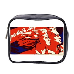 Communist Propaganda He And She  Mini Travel Toiletry Bag (Two Sides)
