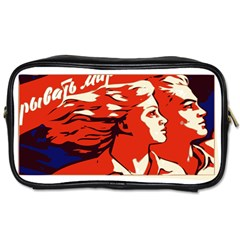 Communist Propaganda He And She  Travel Toiletry Bag (Two Sides)