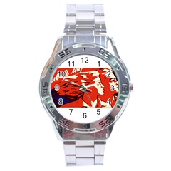 Communist Propaganda He And She  Stainless Steel Watch (Men s)
