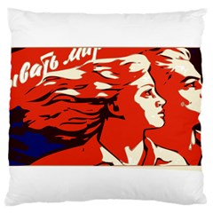 Communist Propaganda He And She  Large Cushion Case (two Sided)