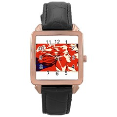 Communist Propaganda He And She  Rose Gold Leather Watch