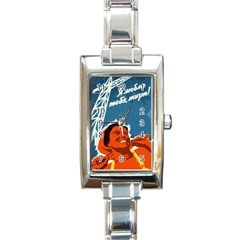 Building Together Rectangular Italian Charm Watch