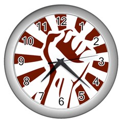 Fist Power Wall Clock (Silver)