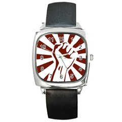 Fist Power Square Leather Watch