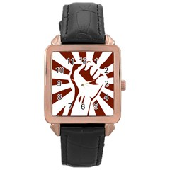 Fist Power Rose Gold Leather Watch