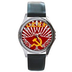 hammer and sickle cccp Round Metal Watch