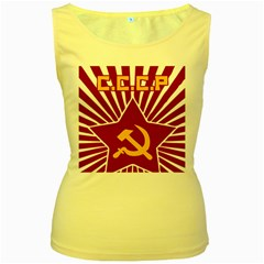 hammer and sickle cccp Women s Yellow Tank Top