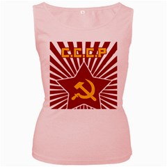 hammer and sickle cccp Women s Pink Tank Top