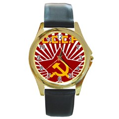 hammer and sickle cccp Round Gold Metal Watch