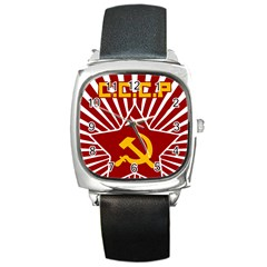 hammer and sickle cccp Square Metal Watch
