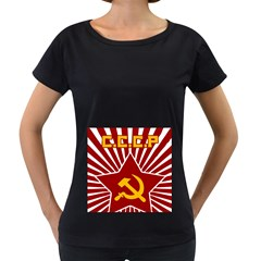 Hammer And Sickle Cccp Maternity Black T Shirt