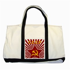 hammer and sickle cccp Two Tone Tote Bag