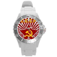 hammer and sickle cccp Round Plastic Sport Watch Large