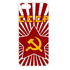 hammer and sickle cccp Apple iPhone 5 Seamless Case (White)