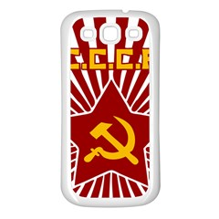 hammer and sickle cccp Samsung Galaxy S3 Back Case (White)