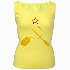 Cccp Mouse Pen Womens  Tank Top (Yellow)
