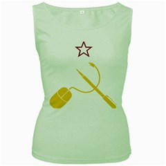 Cccp Mouse Pen Womens  Tank Top (Green)
