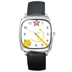 Cccp Mouse Pen Square Leather Watch