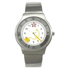 Cccp Mouse Pen Stainless Steel Watch (unisex)