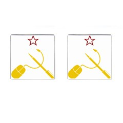 Cccp Mouse Pen Cufflinks (Square)