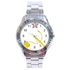 Cccp Mouse Pen Stainless Steel Watch (Men s)