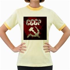 Cccp Soviet union flag Women s Fitted Ringer T-Shirt