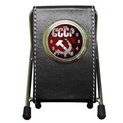 Cccp Soviet union flag Pen Holder Desk Clock