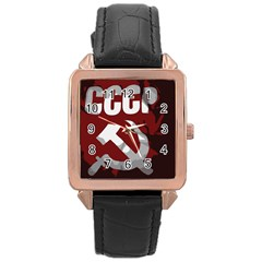 Cccp Soviet union flag Rose Gold Leather Watch