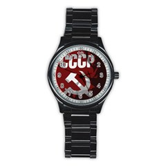 Cccp Soviet Union Flag Men s Stainless Steel Round Dial Analog Watch
