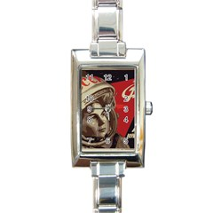Soviet Union In Space Rectangular Italian Charm Watch