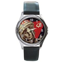 Soviet Union In Space Round Metal Watch (Silver Rim)