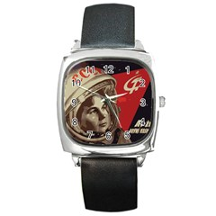 Soviet Union In Space Square Leather Watch