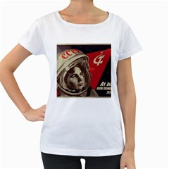 Soviet Union In Space Womens' Maternity T-shirt (White)